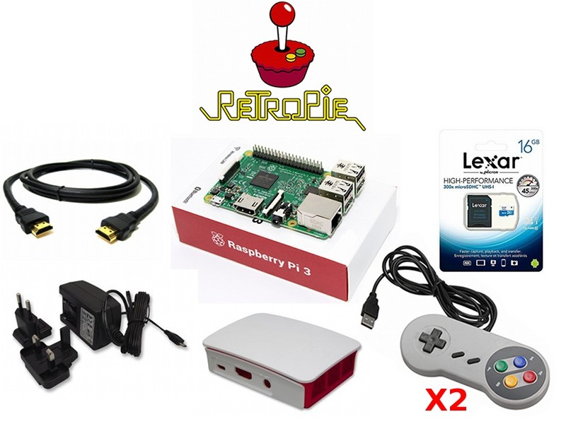 Console Retrogame Raspberry Pi 3 Retropie Kit 32GB